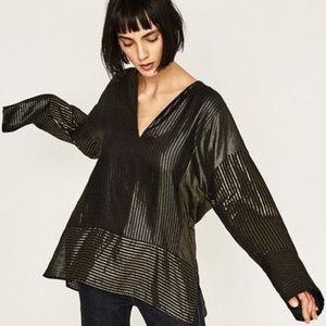 NWT Zara Shiny Patchwork Tunic